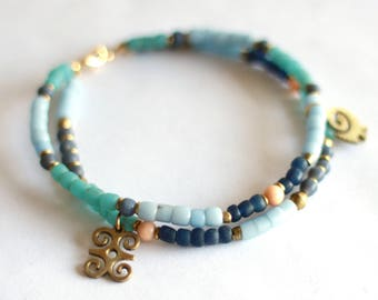 MONA: Two Strand African Anklet, African Beads, Indonesian Glass, Adinkra Symbol,  Ethnic Tribal, Ankle Foot Jewelry, Ethiopian, Blue Aqua