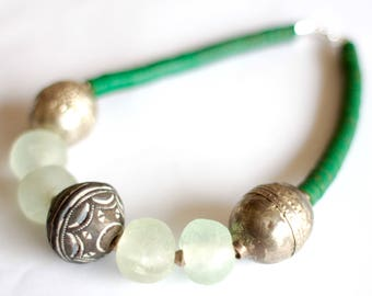 AQUA: African choker, Ghana recycled glass beads, green vinyl disk, Ethiopian bead, Mali clay, African jewelry, turquoise aqua statement