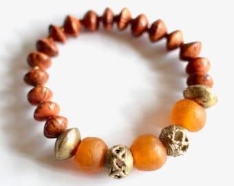 Orange African Bracelet, Ghana Recycled Glass, Indonesian Betel Nut, African Jewelry, Ethnic Bracelet, Unisex Tribal, African Lost Wax Brass