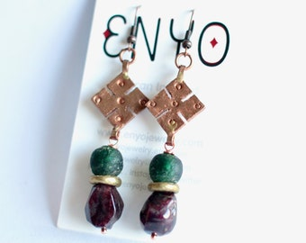 African copper earrings, Ethiopian Coptic cross meskel, Ghana recycled glass, Garnet gemstone, green purple, African jewelry, tribal earring