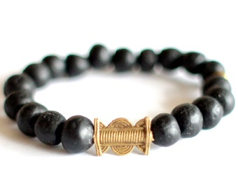 Men's African Bracelet, Recycled Glass Beads, African Jewelry, Ethnic Bracelet, Ghana Beads, Unisex Jewelry, Baoulé Brass, Charcoal Black