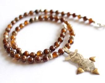 Tuareg Necklace, Berber Jewelry, Silver Gold Pendant, Geometric Pendant, Unisex Necklace, Brown Garnet, Gemstone Necklace, African Jewelry