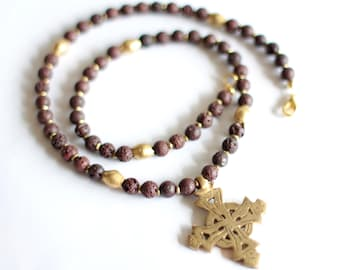 ZEWEDU: Men's Necklace, Ethiopian Cross, Gold Coptic Cross, Meskel Pendant, Brown Lava Beads, African Jewelry, Ethnic Necklace, Habesha