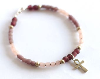 ERNA: Purple African Anklet, Ghanaian Recycled Glass, Ankh Jewelry, Ethiopian Silver, Pink Bead, Indonesian Glass, Foot Jewelry, Tribal Chic