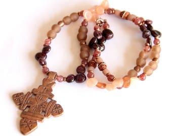 ELIZA: Meskel Necklace, Copper Ethiopian Cross, Sunstone Garnet Stones, African Jewelry, Long Necklace, Rudraksha Seed, Ghana Recycled Glass