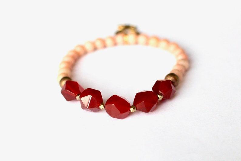 Orange African Bracelet Salmon Jade Adinkra Jewelry Faceted image 0
