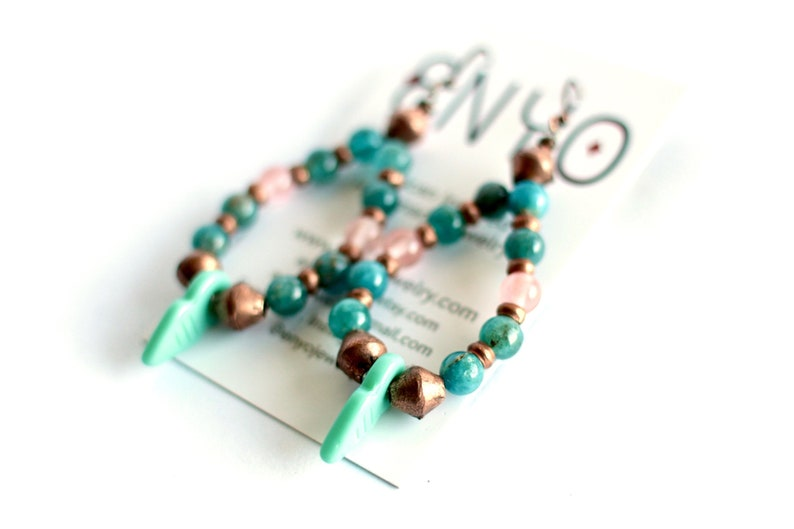African Hoop Earrings Turquoise Apatite Cherry Rose Quartz image 0
