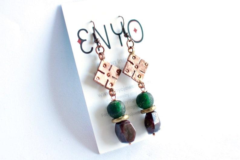 African copper earrings Ethiopian Coptic cross meskel Ghana image 0