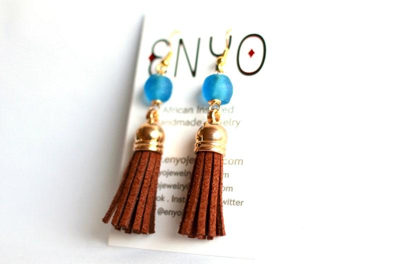 Brown Blue Tassel Earrings Ghanaian Recycled Glass African image 0