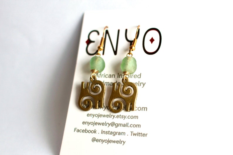 Adinkra Earrings Aqua Ghanaian Beads African Earrings image 0