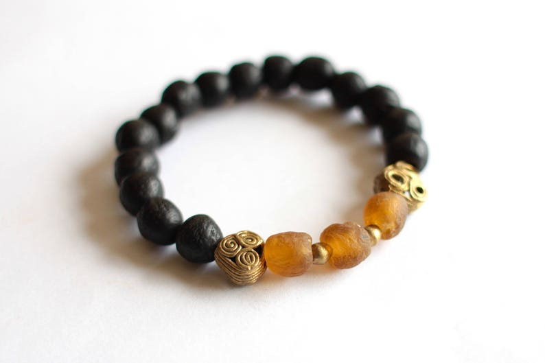 Men's African Bracelet Recycled Glass Beads African image 0