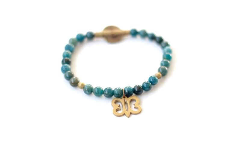 HYE WON HYE: Apatite Bracelet Adinkra Symbol Endurance Aqua image 0