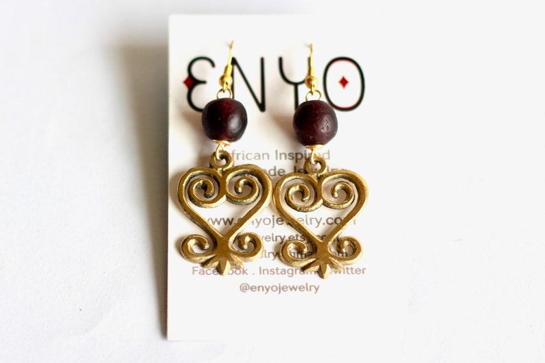 Medium Purple Sankofa Earrings Adinkra Jewelry African image 0