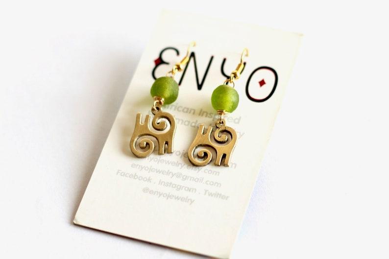 Small Lime Green Kwatakye Atiko Earrings 2 Pairs African image 0