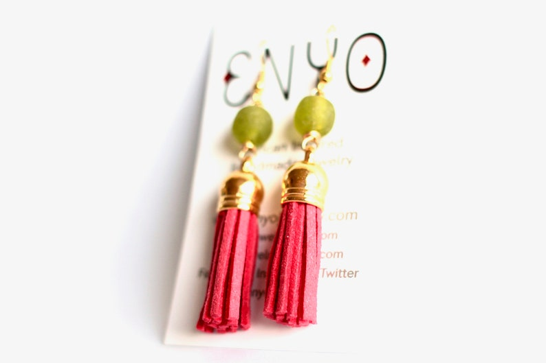 Green Pink Tassel Earrings Ghanaian Recycled Glass African image 0