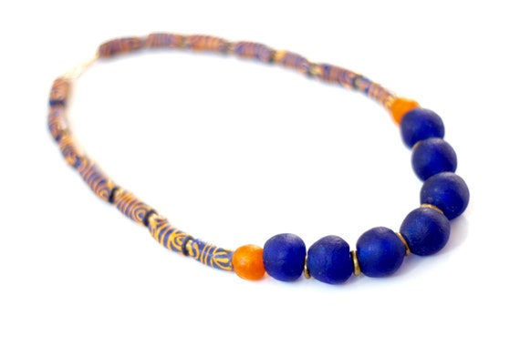 Salmon Krobo Bead Recycled Glass African Statement Necklace Blue African Jewelry Ghana Jewelry NYAMEWA: African Necklace Ethnic Tribal