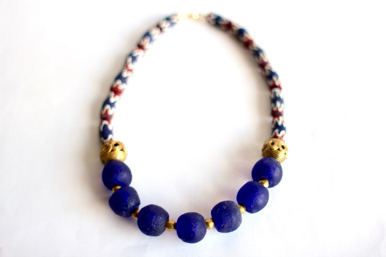 AYO: Blue Red Necklace African Jewelry Ghana Recycled Glass image 0