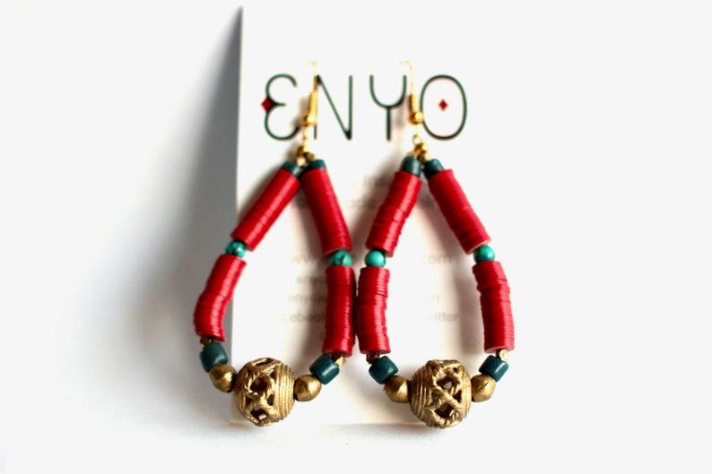 TURKANA: African Hoop Earrings African Jewelry Trade Bead image 0