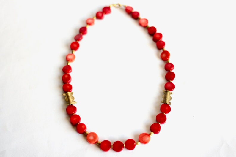 Red Coral Necklace African Brass Beads Salmon Coral image 0