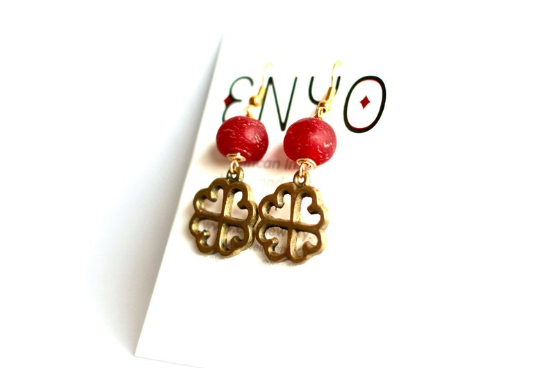 NYAME DUA: Red Ghanaian earrings Adinkra pendant Recycled image 0