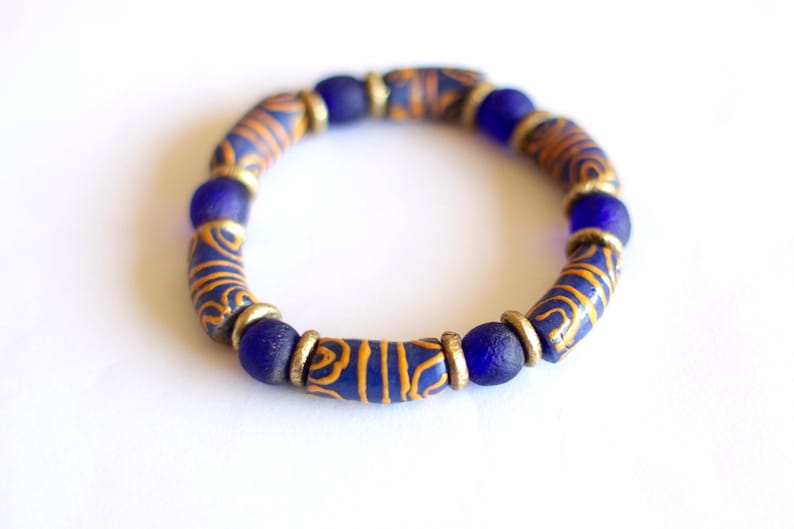 Blue African Bracelet Orange Krobo Beads Ghana Recycled image 0