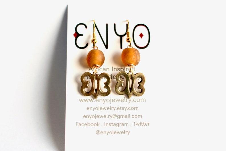Adinkra Earrings brown Ghanaian Beads African Earrings image 0