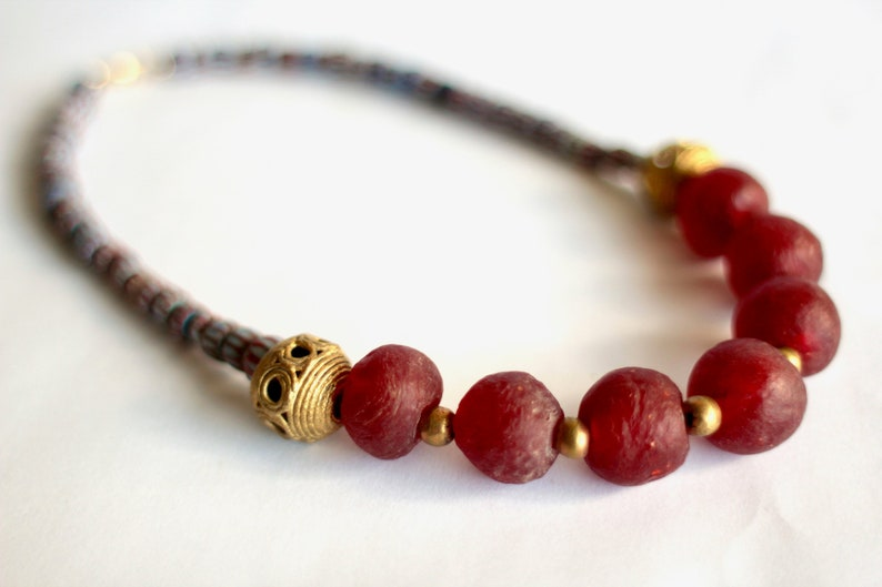NAIMA: Red African Necklace Ghanaian Recycled Glass Awale image 0