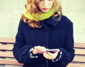 Knitted cowl. multicoloured infinity scarf. 100% wool.