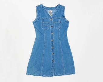 5ba070750c 90s Denim Jumper S - Vintage Denim Jumper Small - 90s Jean Dress Small - Denim  Mini Dress - Short Denim Dress S - 90s Studio Wear Blue Denim