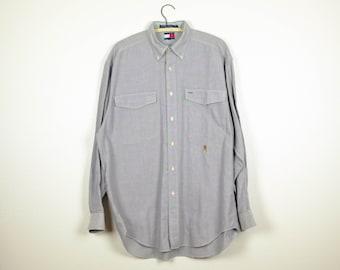 ca300479528 90s Tommy Hilfiger Shirt L - Vintage Tommy Hilfiger Shirt Men s Large -  Long Sleeve Tommy Hilfiger - Tommy Hilfiger Oxford Shirt L - Gray
