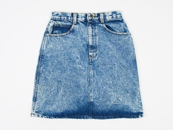 Size 26 Acid Wash Mini Skirt- Vintage Denim Mini S