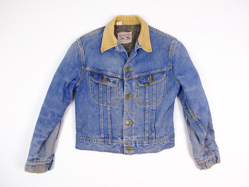 0a3421087 Veste en Jean XS - Vintage Lee Storm Rider veste en Jean Extra Small -  couverture doublé Jean veste en velours côtelé col - Vintage veste en Jean  ...