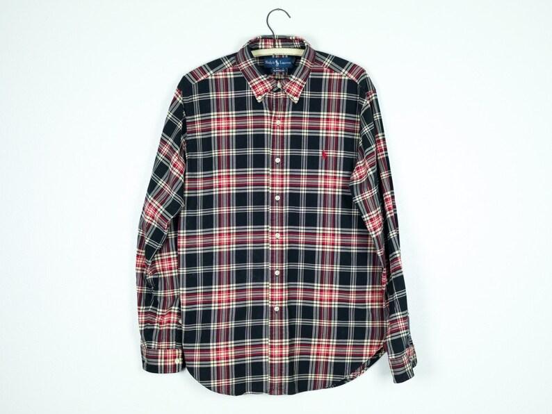 f07a4e1d0 90s Ralph Lauren Shirt L Plaid Button Down Oxford Mens Large
