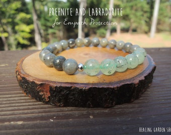 Empath Protection with Prehnite and Labradorite Bracelet by Rock My Zen