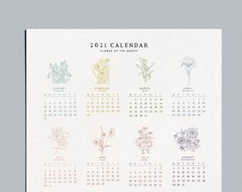 """2021 Flower of the Month Wall Calendar -  11x14"""""""