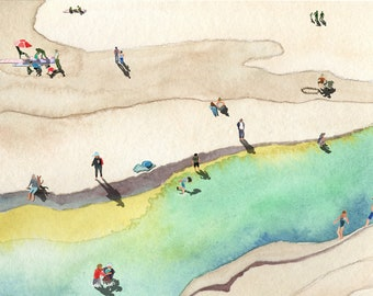 Beach Day | 2nd Edition Limited Edition Art Print | Signed by the Artist | Watercolor | Mixed Media