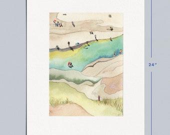 "18x24"" Beach Day Art Print | Watercolor | Mixed Media"