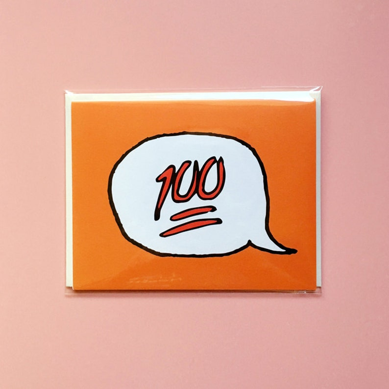Emoji Cards  Keep it 100  Orange image 0