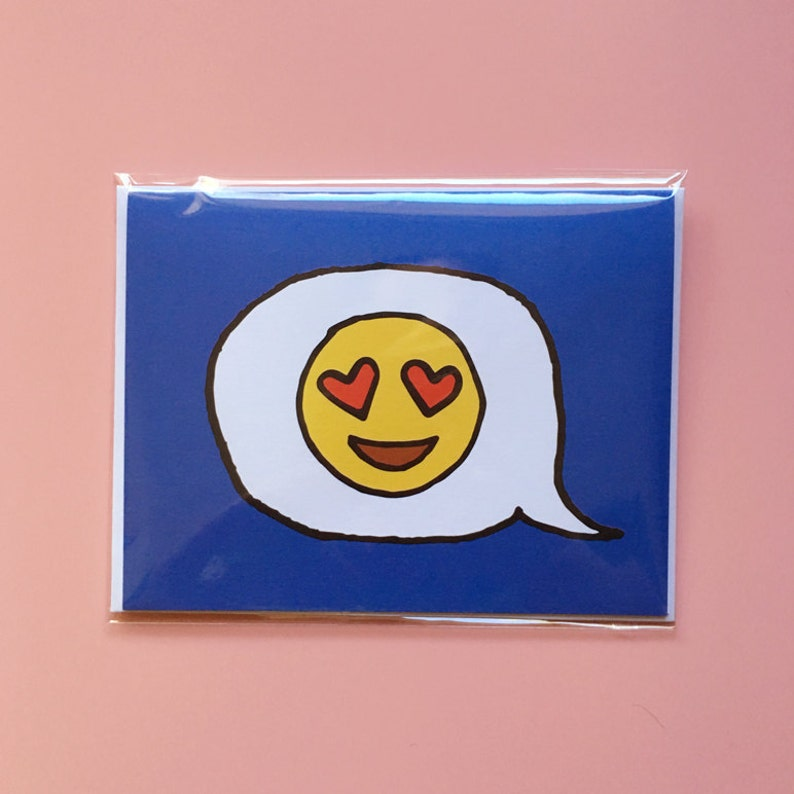Emoji Cards  Heart Eyes Emoji  Blue Background image 0
