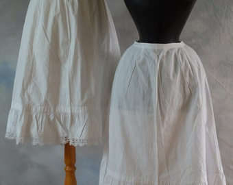 SALE Antique Victorian cotton petticoat, Mori style skirt with lace trim, skirt, French,