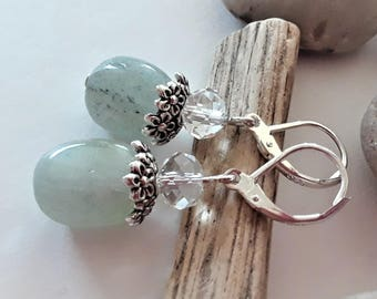 Aquamarine Earrings | March Birthstone | Blue Gemstone Earrings | Lever Back Earrings | Sterling Silver | Aquamarine Nuggets | Natural Gems