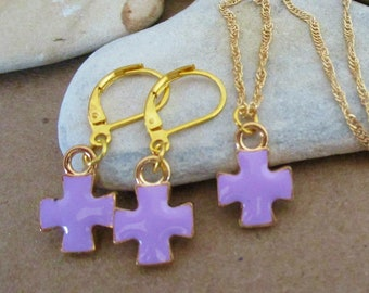 Purple and Gold Cross Earrings and Necklace Set | Dainty Delicate Gold Curb Chain Necklace | Gold Plated Lever Back Earrings | Cross Jewelry