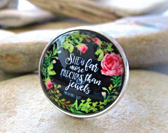 She is Far More Precious Than Jewels | Bible Quote Ring | Rose Ring | Christian Gifts | Christian Jewelry | Glass Dome Cabochon | Adjustable