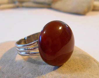 Brown India Agate Ring | Unique Natural Stone Rings | Adjustable Womens Rings | Handmade Thank You Gift | Goodbye Farewell Moving | Get Well