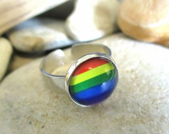 Rainbow Ring | Adjustable Silver Ring | Rainbow Flag LGBT Flag | Pride Ring Rainbow Jewelry Pride Jewelry | Rings for Men | Rings for Women