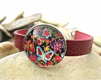 Butterfly Bracelet | Red Leather Bracelet | Butterfly Jewelry | Spring Summer Birthday Teen Girl Gift Street Style Boho Sweet 16 Valentines