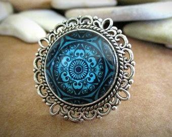 Mandala Ring | Adjustable | Silver | Glass Dome Cabochon | Blue | Black | Kaleidoscope | Boho | Bohemian | Filigree | Chunky | Big | Flower