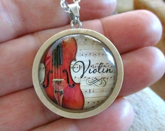 Violin Necklace   Wood Necklace   Violin Gifts   Music Gifts   Music Teacher   Musician   Orchestra   Fiddle   Violinist   Composer   Player