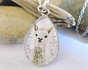 Adorable Llama Necklace | Llama Gifts Alpaca Gifts | Teardrop Picture Cabochon | 925 Sterling Silver Chain | Alpaca Necklace | Teen Gifts