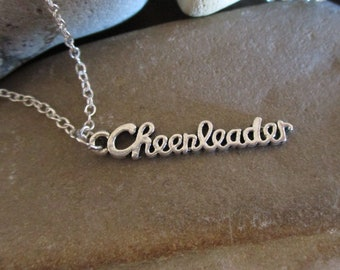 Cheerleader Necklace | Sterling Silver Chain | Cheer Gifts | Cheer Mom | Cheerleader Gift Cheer Coach Cheerleading Dainty Delicate Necklace